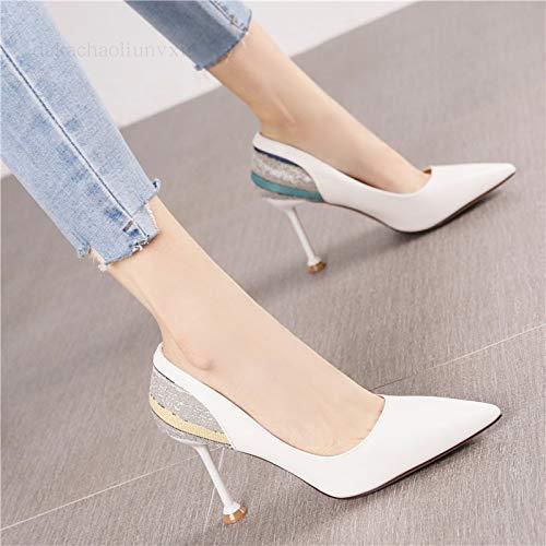 Zapatos Primavera De Zapatos Mujer Alto tacón Cómodos Femeninos del Señalado Cuña Femenino Otoño de Tacón PU Beige zapatos La Suaves Yukun alto De del Y Pie Deportes 38 White Creamy De Solos Arco 8FqxK