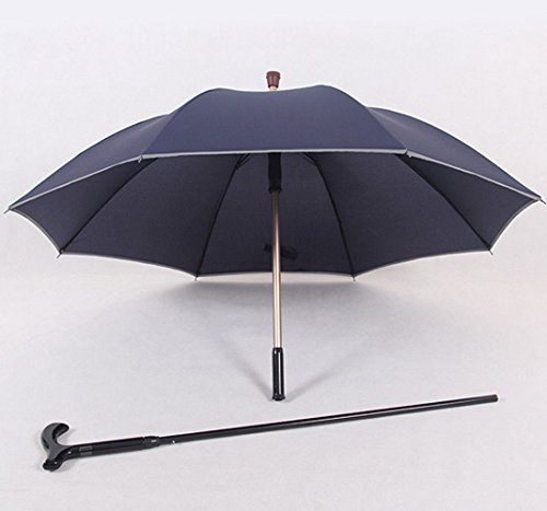 HTYX Multifunctional Cane Outdoor Umbrella Cane Elderly Umbrella Cane Blue Aluminum Umbrella Diameter 102cm Cane 86cm