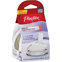 Playtex Baby Angled Silicone Baby Bottle Nipples, Fast Flow, Count of 2 Nipples
