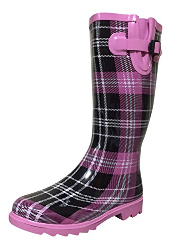 (PSW Womens Mstkh Rubber Rain Boots, Pink/Black Plaid, 9 M US)