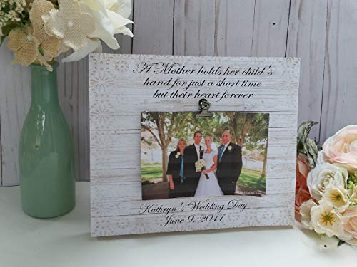 - Personalized wedding photo frame, A Mother holds her child's hand for a little while, but her heart forever, measures 8x10 in, Your choice of colors