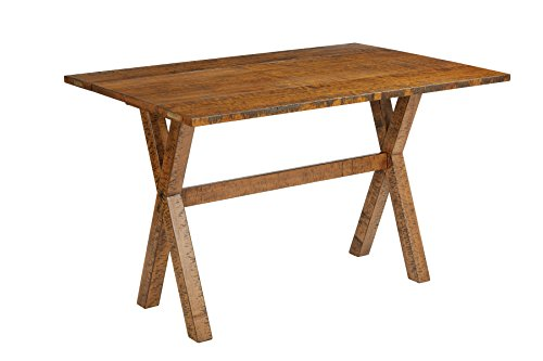 Dining Top Table Flip (Office Star McKayla Solid Wood and Veneer Flip Top Table, Distressed Brown Finish)