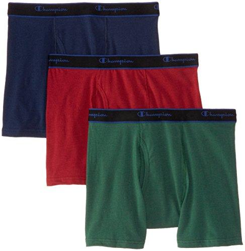 Champion Men's 3-Pack Performance Cotton Short Leg Boxer Briefs, Eden/Indigo Ink/Cherry Pie, X-Large ()