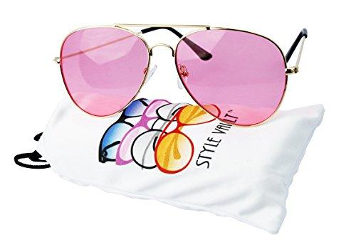 A67-vp Aviator Pilot Colored Lens Metal Sunglasses (B3386F Gold-bubble gum - Glasses Bubblegum