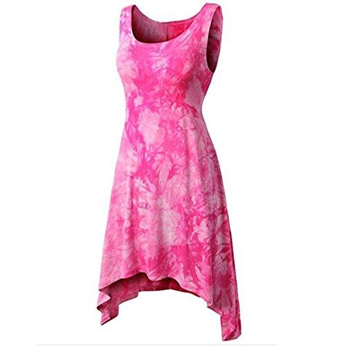 Mini Vestido sin Mangas del teñido Anudado del Dobladillo Irregular de Las Mujeres (Color : Red, tamaño : L)