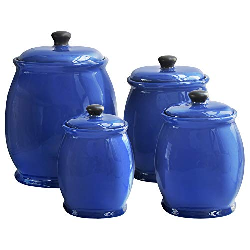 American Atelier 4Piece Canister Set-Blue, , Blue (Yellow 3 Piece Canister)