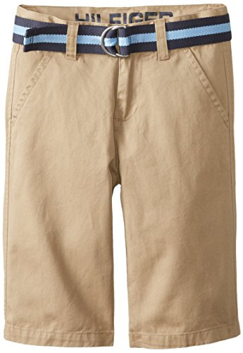 Belted Flat Front Shorts - Tommy Hilfiger Big Boys' Belted Flat-Front Short, TH Chino, 10