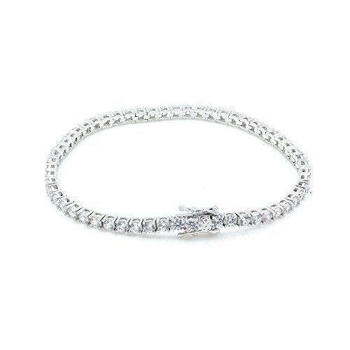 Bling Bling NY NEW 1 Row Tennis Necklace/Bracelet Silver Finish Lab Created Diamonds 3MM Iced Out Solitaires (Bracelet 7'') -