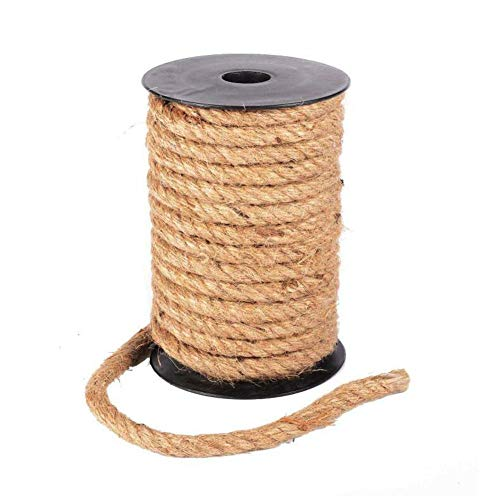 Melo-bell 32 Feet Jute Rope, 4-10mm Natural Jute Twine Vintage Handmade Braided Twisted Hemp Rope for Artworks and Crafts, Macrame Projects, Gardening Applications