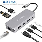 USB C Hub, 8 in 1 Multi Port Type C to Ethernet Adaptor