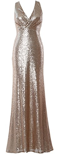 MACloth Women V Neck Sequin Long Bridesmaid Dress 2017 Wedding Party Formal Gown Champagne