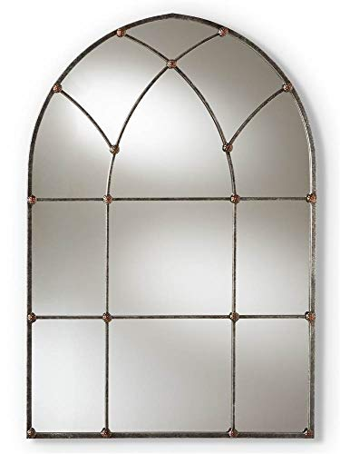 Baxton Studio Arched Window Wall Mirror in Antique Silver Finish