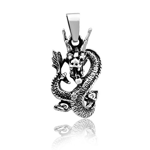 Sterling Silver Chinese Dragon Pendant - WithLoveSilver 925 Sterling Silver Celtic Dragon Pendant