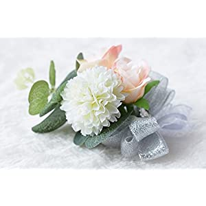 Zippersell Wedding Bride Wrist Corsage Bridesmaid Wrist Flower Corsage for Wedding Prom Party Homecoming (Pack of 2) 5