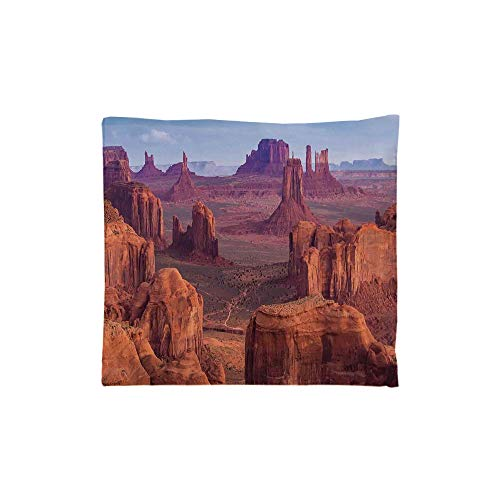 (Indoor/Outdoor Square Seat Cushion,Comfort Memory Foam Chair Pad,House Decor,View of Deep Canyon with Different Scaled Length Red Rocks Discovery Art Theme,Brown Blue,Fit for Most of)
