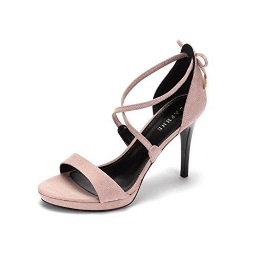 High Heels Fashion Crossover Suede Romantic Sandals Feet Bare Shoes (Color : Pink, Size : 38)