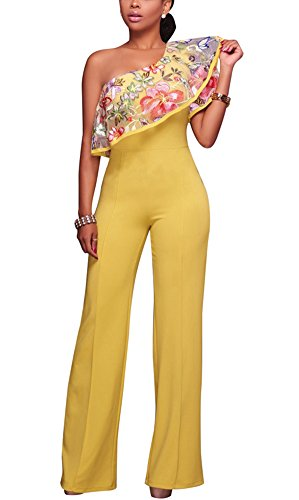 Dreamparis Womens One Shoulder Floral Embroidered Ruffle High Waist Long Wide Leg Pants Jumpsuits Rompers Yellow Medium
