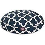 Navy Trellis Small Round Indoor Outdoor Pet Dog Bed With Removable Washable Cover By Majestic Pet Products by Majestic Pet