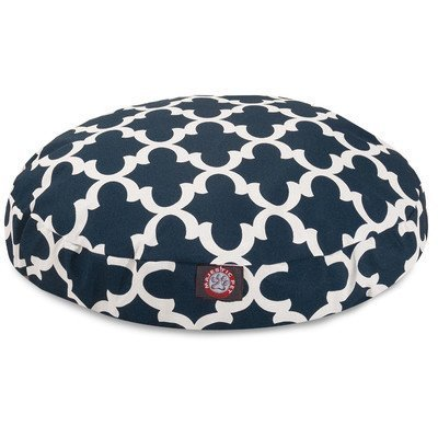 Navy Trellis Large Round Indoor Outdoor Pet Dog Bed With Removable Washable Cover By Majestic Pet Products by Majestic Pet by Majestic Pet