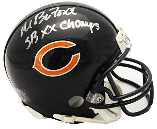 Champs Helmet Mini Riddell (Maury Buford Signed Chicago Bears Riddell Mini Helmet w/SB XX Champs)