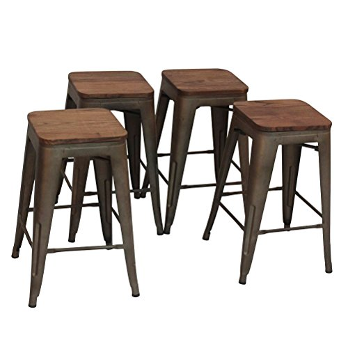 Changjie Furniture High Backless Metal Bar Stool for Indoor-Outdoor Kitchen Stackable Counter Bar Stools Set of 4 Bronze Metal with Wood Seat (Wood Bar Stools Metal)
