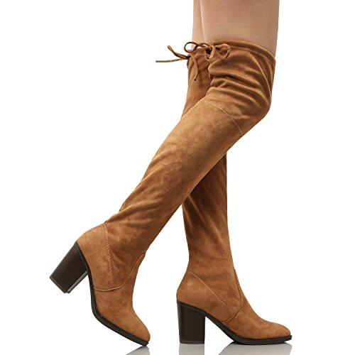 Guilty Heart | Women's Sexy Pull Up Over The Knee Thigh High Platform High Heel Stiletto Boots Tanv5 Suede