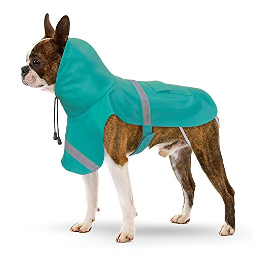 Dog Raincoat, PETBABA Reflective Rain Jacket with Hood for Dogs Turquoise Blue S/M (Raincoats With Hoods For Dogs compare prices)