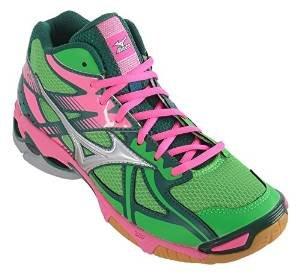 MIZUNO Wave Bolt 4 MID Indoor Women (Green/Pink) V1GC156533 (37)