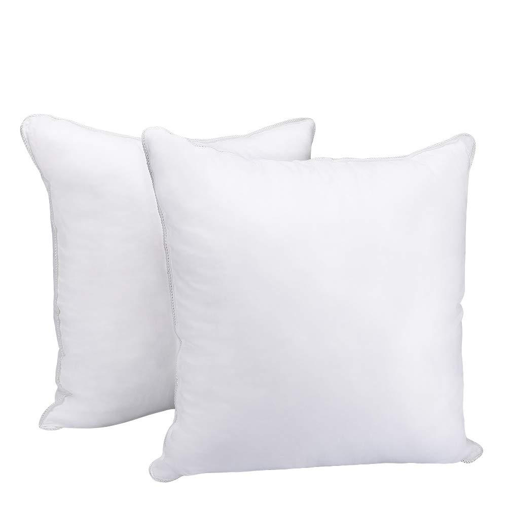 HOMEIDEAS Pillow Inserts - Square Super Soft 100% Cotton Cover and Microfiber Filled, Hypoallergenic Pillow Insert Cushion, 20 x 20 inch - Set of 2 (White)