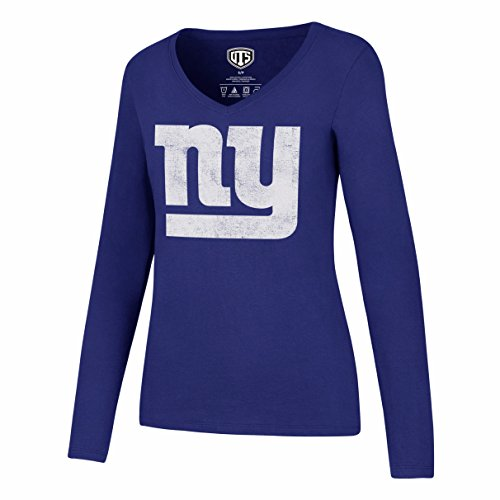 Giants Long Sleeve - OTS NFL New York Giants Women's Rival Long Sleeve Distressed Tee, Large, Royal