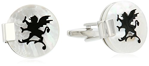 (Stacy Adams Men's Round Cuff Links with Antique Pattern and Ribbed Edge, Silver/Gold, One)