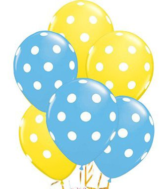 Polka Dot Balloons 11 Inch Premium Pale Blue and Yellow with All-Over Print White Dots Pkg/25