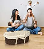 Wicker-Look Woven Baby Moses Basket with