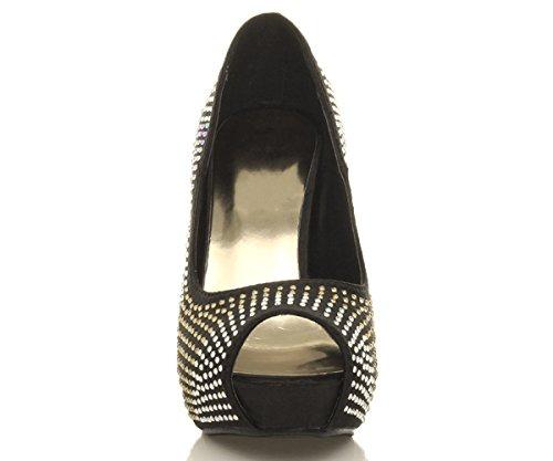 Damen Abend Hochzeit Hohen Absatz Peep Toe Sandalen Plateau-Schuhe Pumps Größe Schwarz mit strass