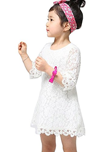 EGELEXY Princess Kids Girls Half Sleeve Flower Lace Dress (140 For 6-7Years, (White Lace Dress For Girl)