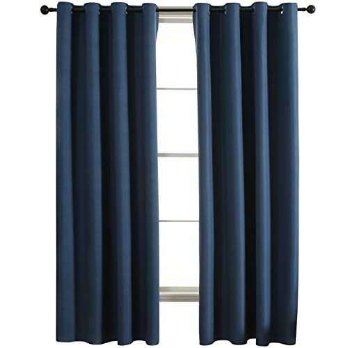 JC JACK&CATHERINE Reversible 100% Blackout Curtains for Bedroom Bicolor Water Repellent Indoor Outdoor Window Treatments Drape, Navy and Grey, 52 x 84 inch, Set of 2 Panels (Window Treatments Outdoor)