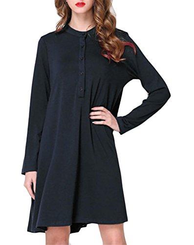 Jaycargogo Femmes Bouton Manches Longues O-cou Robe De Mode Casual Couleur Noir Vers Le Bas Solide