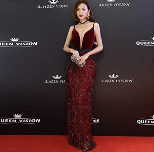 ELEGENCE-Z Evening Dress, Elegant Sexy Deep V-Neck Velvet Sleeveless Fish Tail Evening Dress Sling Dress Red Carpet Party Dress