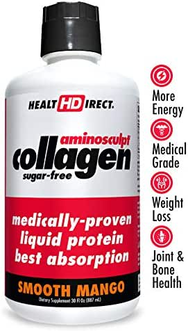 Medical-Grade Liquid Collagen Supplement | AminoSculpt Sugar-Free | 30 Fl Oz | Smooth Mango | Burn Fat | Recovery | Good for Joints, Bones, and Sleep | Better Hair, Skin and Nails