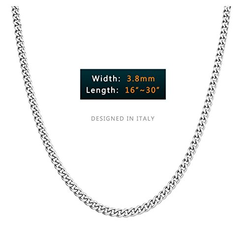 AmyRT 3.8mm Stainless Steel Hip Hop Curb Chain Necklace Cubic Cuban Link Silver Chain for Men Women (Plain Curb Chain)