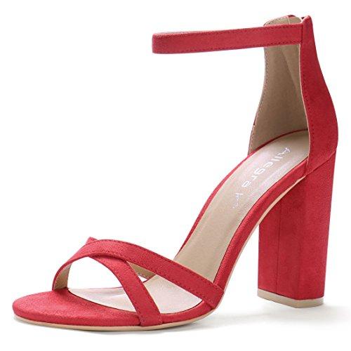 Allegra K Donna Open Toe Cinturino Alla Caviglia Con Tacco Rosso
