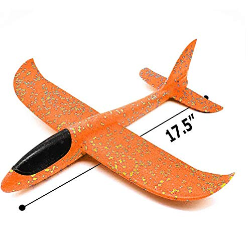 Xstar Large Size 17inch Foam Glider Airplane Outdoor Paper Plane Sports Easy Assemble Manual Throwing Fun Challenging Toy Aerobatic Airplane Model Foam Folding Plane Aircraft (Orange)