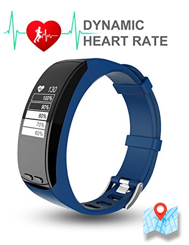TOM TONY P5, GPS fitness band and activity tracker, built in GPS/Dynamic heart rate monitoring (Blue)