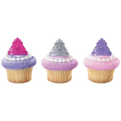 Princess Crown Tiara Royal Birthday Party Cupcake Rings