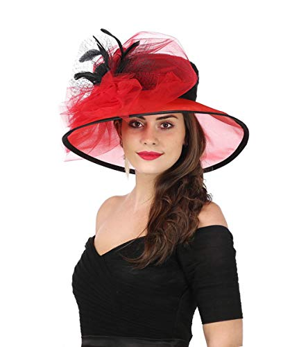 SAFERIN Women's Organza Church Kentucky Derby Fascinator Bridal Tea Party Wedding Hat (3120-Black Red New)]()