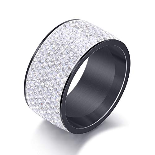 (Jewelrysays 12MM Wide 8 Row Clear Crystal Ring Men Women Stainless Steel Iced Out Rings(Black,8))