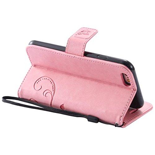 Papillon Fleurs Embossed Retro premium PU Housse en cuir flip magnétique Support Cover Wallet Case Avec poignet main pour iPhone 5 5s SE ( Color : Pink , Size : IPhone 5S SE )