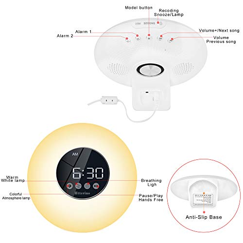 Htterino Smart Night Light Alarm Clock Bluetooth Speaker with Touch LED Display, Dimmable 7 Color Night Light,Sunrise Simulation for Bedroom