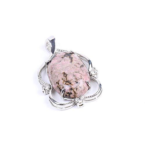 06 Healthy - VOTANTA Natural Stone Pendant & Necklace Oval Flat Crystal Bead Rhinestone Hollow Pretty Charms Pendants Reiki Healthy Jewelry(Pendant 06,)