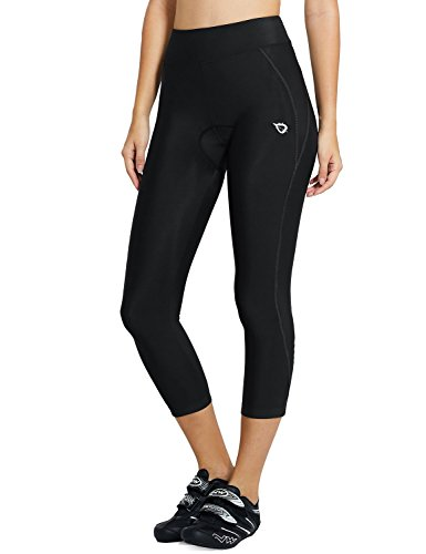 (Baleaf Women's 3D Padded UPF 50+ 3/4 Cycling Compression Tights Capris with Pocket Black Line Size L)